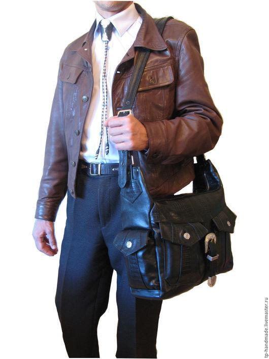 Мужские сумки ручной работы. Ярмарка Мастеров - ручная работа. Купить Мужская кожаная сумка вестерн «Night train to Memphis». Handmade.