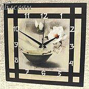 """Для дома и интерьера ручной работы. Ярмарка Мастеров - ручная работа Часы настенные """"Камелия"""" в японском стиле. Handmade."""