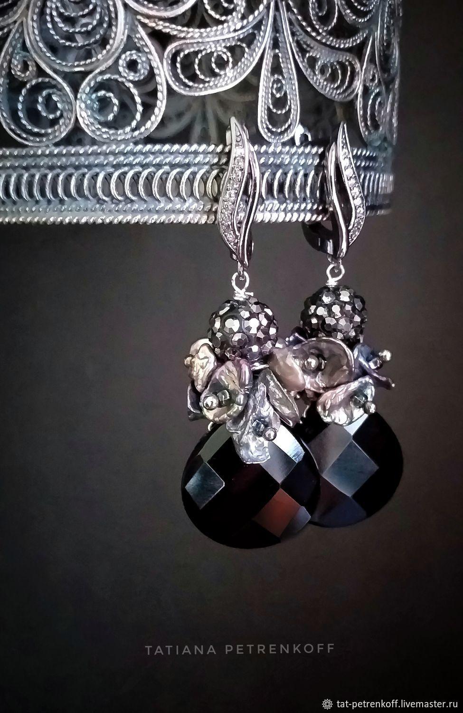 Kesha pearls, Onyx Madeleine Earrings, 925 sterling silver, Earrings, Moscow,  Фото №1