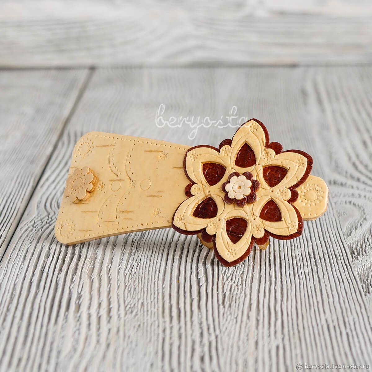 """Заколка автомат из бересты """"Цветок"""". Лёгкая заколка в подарок, Hairpins, Novosibirsk,  Фото №1"""