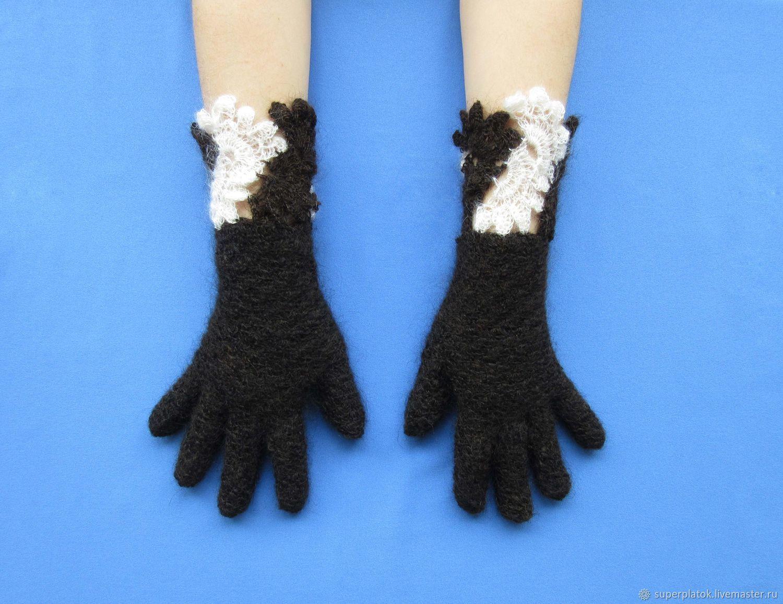 Warm dark brown ladies gloves with cuffs, Wool russian gloves №94, Gloves, Tashkent,  Фото №1