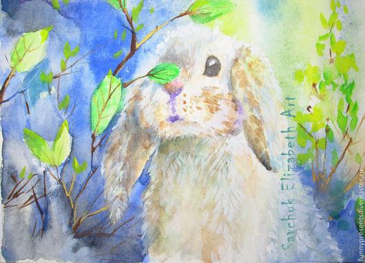Животные ручной работы. Ярмарка Мастеров - ручная работа. Купить Акварель Кролик весенний.. Handmade. Акварель, животные, желтый, пастельный