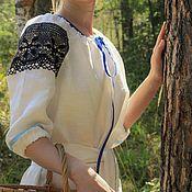 """Русский стиль ручной работы. Ярмарка Мастеров - ручная работа Рубашка-платье """"Черника"""", в славянском стиле,лен. Handmade."""