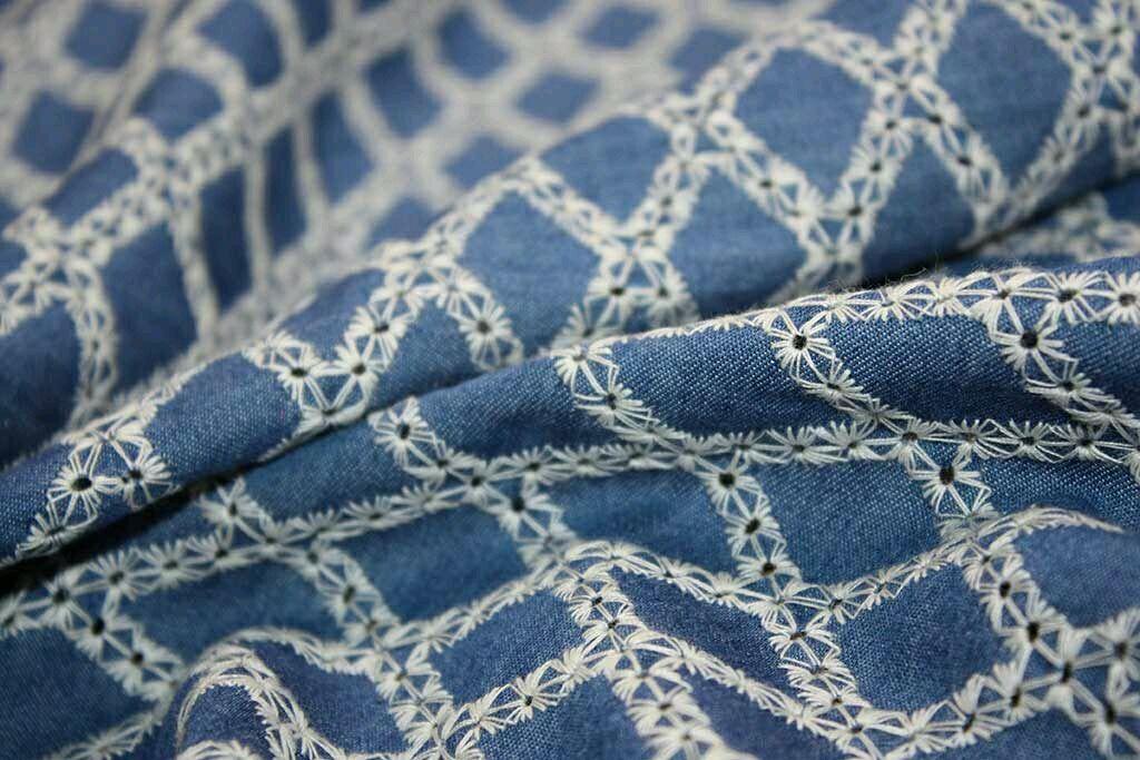 Ткань джинса вышивка