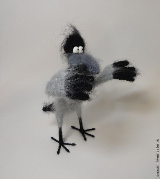 Игрушки животные, ручной работы. Ярмарка Мастеров - ручная работа. Купить Хитрая ворона. Handmade. Ворона, птица, пушистики