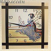 """Для дома и интерьера ручной работы. Ярмарка Мастеров - ручная работа Часы настенные """"Гейша в японском саду"""". Handmade."""