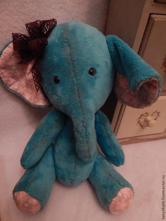 """Игрушки животные, ручной работы. Ярмарка Мастеров - ручная работа. Купить Слоненок """"Дуся"""". Handmade. Тёмно-бирюзовый, слоненок, плюш"""