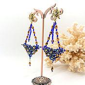 handmade. Livemaster - original item Earrings-ear-stud: Sea of happiness blue. Handmade.