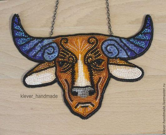 Колье, бусы ручной работы. Ярмарка Мастеров - ручная работа. Купить Колье Бык. Handmade. Бык, буйвол, чешский бисер