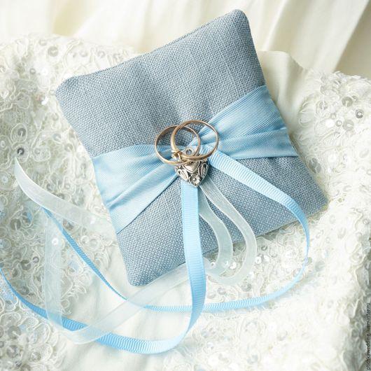 Свадебные аксессуары ручной работы. Ярмарка Мастеров - ручная работа. Купить Серо-голубая свадебная подушечка для обручальных колец. Handmade.