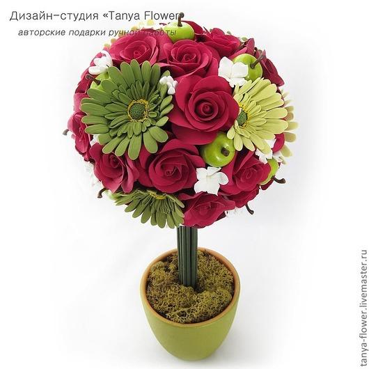 Топиарии ручной работы. Ярмарка Мастеров - ручная работа. Купить Цветочный топиарий. Handmade. Топиарий, интерьерная композиция, цветочное дерево