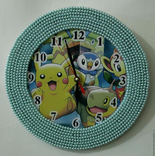 Часы для дома ручной работы. Ярмарка Мастеров - ручная работа. Купить Pokemon. Handmade. Бирюзовый, часы, часы интерьерные