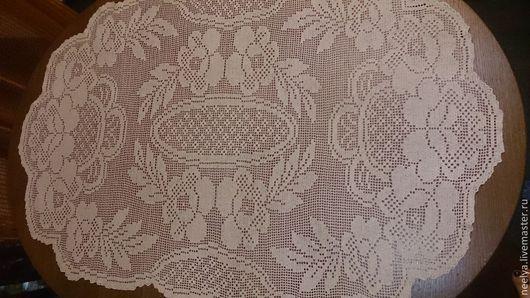 """Текстиль, ковры ручной работы. Ярмарка Мастеров - ручная работа. Купить Большая овальная салфетка """"Чайная роза"""". Handmade."""