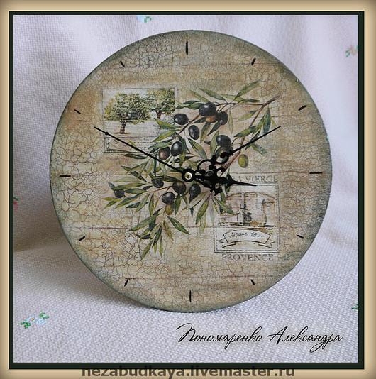 """Часы для дома ручной работы. Ярмарка Мастеров - ручная работа. Купить Часы """"Оливки"""". Handmade. Часы, оливковое дерево, для кухни"""