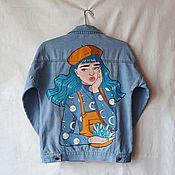 Одежда handmade. Livemaster - original item Denim jacket with hand-painted