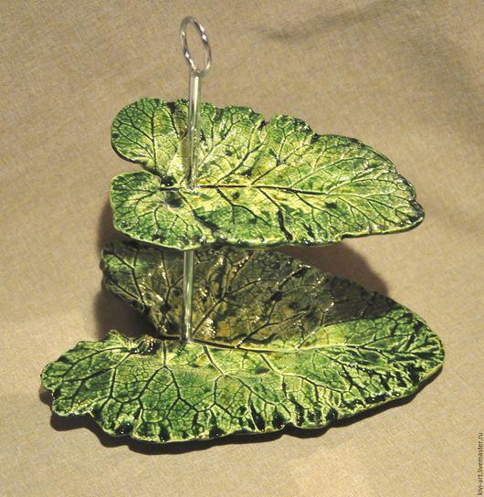 Двухярусное блюдо  `Листья` Кисель Вероника