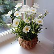 Цветы и флористика ручной работы. Ярмарка Мастеров - ручная работа Большая корзиночка с белыми маками. Handmade.