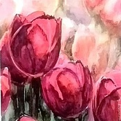 Картины и панно ручной работы. Ярмарка Мастеров - ручная работа Картина цветы Тюльпаны акварель. Handmade.