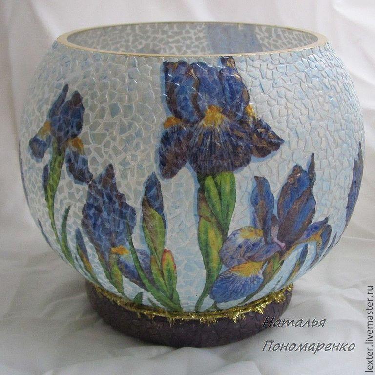 Вазы ручной работы. Стеклянная ваза  Ирисы, Вазы, Москва,  Фото №1