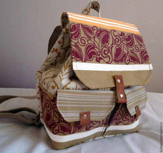 Рюкзаки ручной работы. Ярмарка Мастеров - ручная работа. Купить текстильный рюкзак. Handmade. Серый, текстильный рюкзак, рюкзак