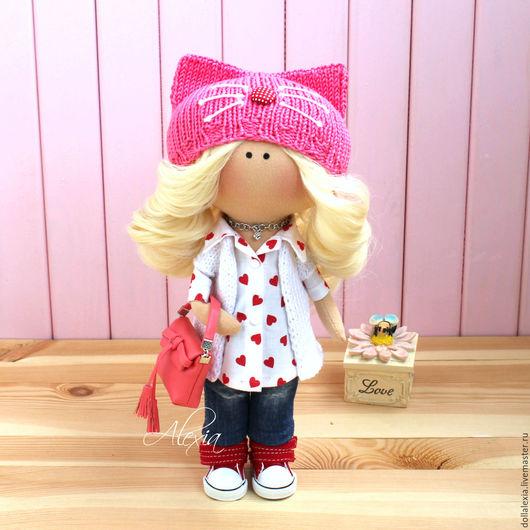 Интерьерная текстильная кукла тыквоголовка Марина. Милая городская модница.