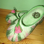 """Обувь ручной работы. Ярмарка Мастеров - ручная работа Тапочки """"С Днём Рождения!"""". Handmade."""