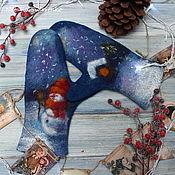 Аксессуары handmade. Livemaster - original item Mittens felted Christmas night. Handmade.