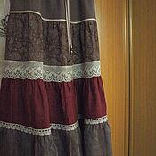Одежда ручной работы. Ярмарка Мастеров - ручная работа Юбка из льна кантри Арт.020d, многоярусная бордово коричневая. Handmade.