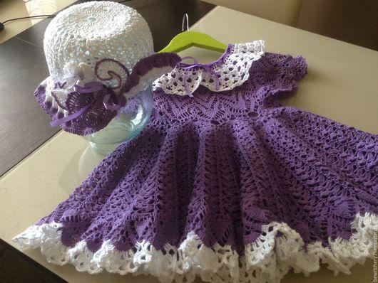 Одежда для девочек, ручной работы. Ярмарка Мастеров - ручная работа. Купить Готовая работа! Сиреневое платье и шляпка. Handmade. Сиреневый