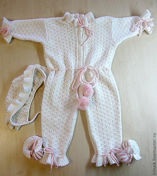"""Одежда для девочек, ручной работы. Ярмарка Мастеров - ручная работа. Купить """"Агу!"""" комплект для девочки. Handmade. Бледно-розовый, пинетки"""