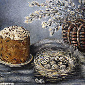 Картины и панно handmade. Livemaster - original item Oil painting in frame EASTER still life WITH CAKE. Handmade.