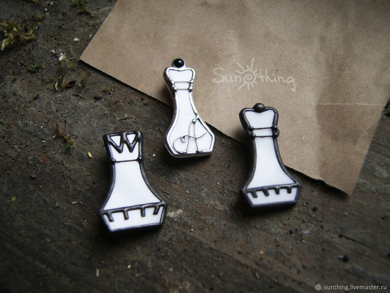 Brooch made of glass 'Chess. THE KING AND QUEEN', Brooches, St. Petersburg, Фото №1