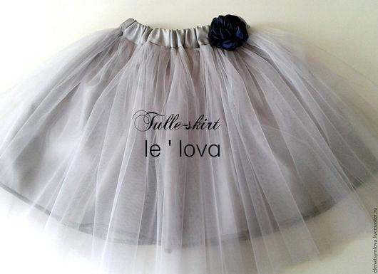 Одежда для девочек, ручной работы. Ярмарка Мастеров - ручная работа. Купить Детская юбка из фатина цвет Мельхиор. Handmade. Серый