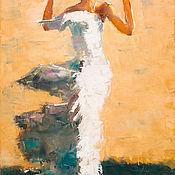 Картины и панно ручной работы. Ярмарка Мастеров - ручная работа Девушка в белой шляпе. Handmade.