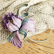 "Brooches handmade. Livemaster - original item Leather brooch ""Lilac haze"". Handmade."