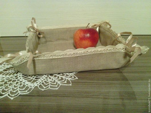 Кухня ручной работы. Ярмарка Мастеров - ручная работа. Купить Льняная хлебница. Handmade. Бежевый, хлебница, подарок на день рождения