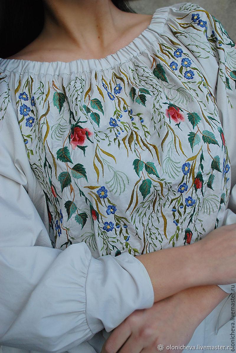 "Нарядная блуза с вышивкой ""Мраморная сказка"", Блузки, Винница,  Фото №1"