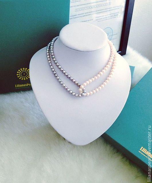 Комплекты украшений ручной работы. Ярмарка Мастеров - ручная работа. Купить Оригинальное ожерелье из пресноводного белого и серого жемчуга. Handmade.