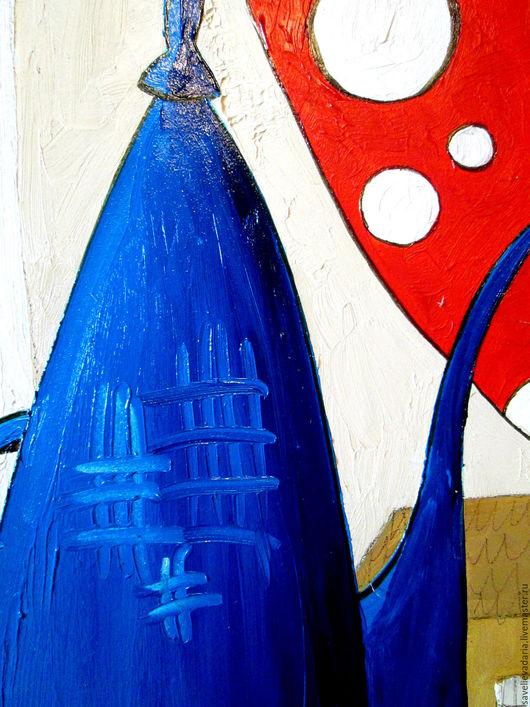 """Натюрморт ручной работы. Ярмарка Мастеров - ручная работа. Купить Картина маслом """"Синий чайник из далекой страны"""". Handmade. Синий"""