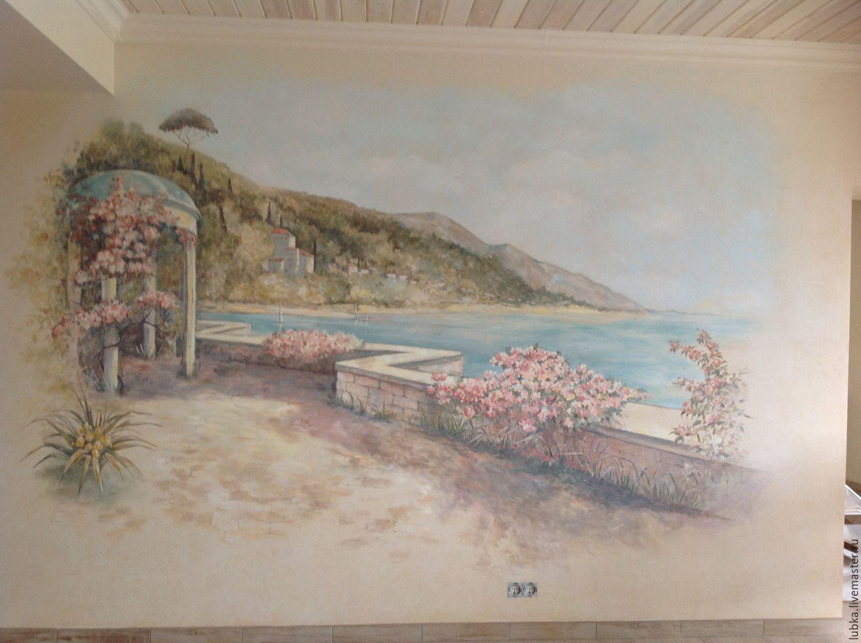 Роспись стены адриатический пейзаж - купить в интернет-магаз.