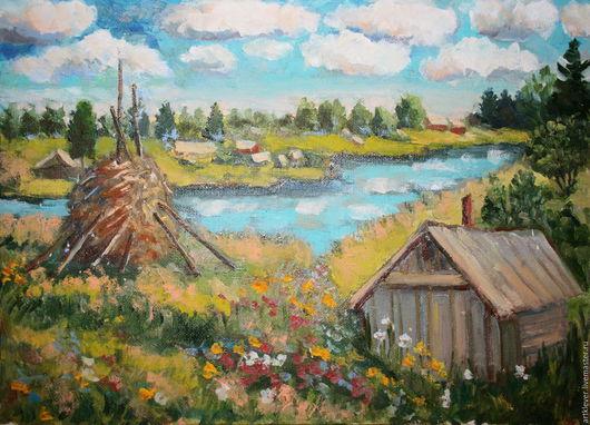 """Пейзаж ручной работы. Ярмарка Мастеров - ручная работа. Купить Картина """"Онега"""". Handmade. Голубой, пейзаж, река, онега, лето"""