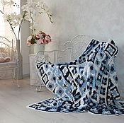 Для дома и интерьера ручной работы. Ярмарка Мастеров - ручная работа Синий ажурный плед из шерсти меринос. Handmade.