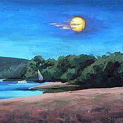 """Картины и панно ручной работы. Ярмарка Мастеров - ручная работа Картина """"Лунная ночь на Оке"""". Handmade."""