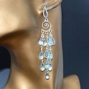 Украшения handmade. Livemaster - original item Silver Earrings from Topaz Blue Sky Blue Designer Earrings.. Handmade.