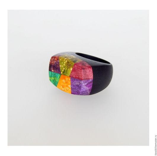 Кольца ручной работы. Ярмарка Мастеров - ручная работа. Купить Яркий крупный перстень из дерева. Handmade. Комбинированный, перстень из дерева