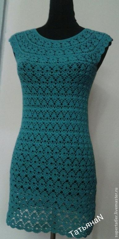 Платья ручной работы. Ярмарка Мастеров - ручная работа. Купить Платье крючком Соблазн. Handmade. Морская волна, повседневное платье