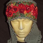 Аксессуары ручной работы. Ярмарка Мастеров - ручная работа шапка с ушками с ручной вышивкой большого размера Красна девица. Handmade.
