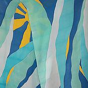 """Аксессуары ручной работы. Ярмарка Мастеров - ручная работа Шелковый шарф """"Небесный"""". Handmade."""