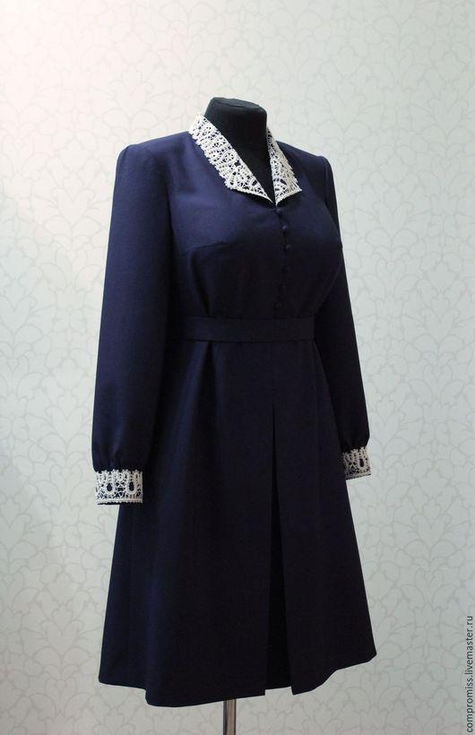 Платья ручной работы. Ярмарка Мастеров - ручная работа. Купить платье в стиле 40-х годов. Handmade. Тёмно-синий
