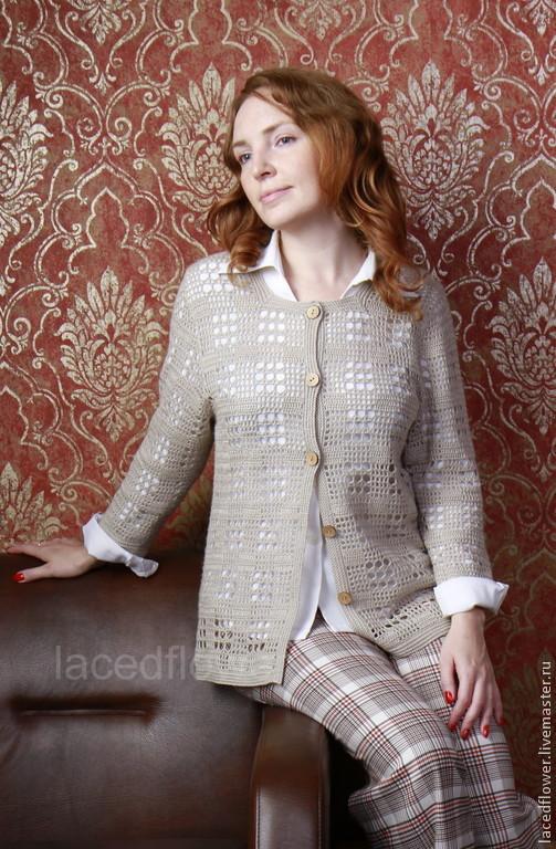 Jacket cashmere+silk (2) hollow fiber, Sweater Jackets, Permian,  Фото №1